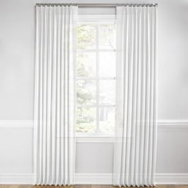 Bright White Gauzy Linen Euro Pleated Curtains Close Up