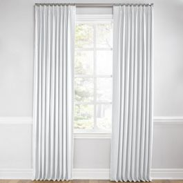 Traditional White Linen Euro Pleated Curtains Close Up