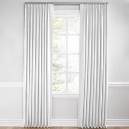 Bright White Linen Euro Pleated Curtains Close Up