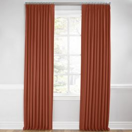 Dark Red-Orange Linen Euro Pleated Curtains Close Up