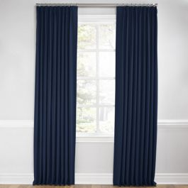Dark Indigo Blue Linen Euro Pleated Curtains Close Up