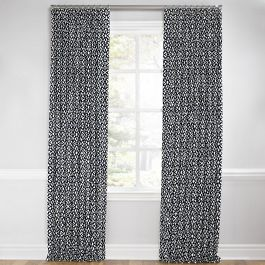 Navy Blue Floral Lattice Euro Pleated Curtains Close Up