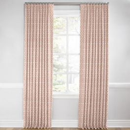 Pale Coral Trellis Euro Pleated Curtains Close Up