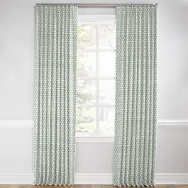 Pale Seafoam Trellis Euro Pleated Curtains Close Up