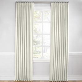 White Sunbrella® Canvas Euro Pleated Curtains Close Up
