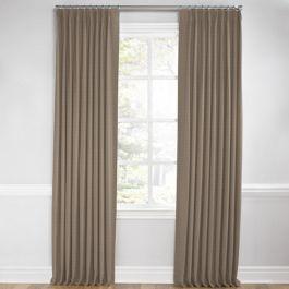 Taupe Sunbrella® Canvas Euro Pleated Curtains Close Up