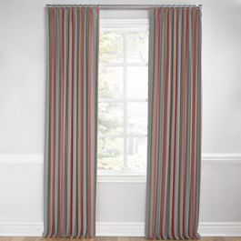 Red Blue Tan Stripe Euro Pleated Curtains Close Up
