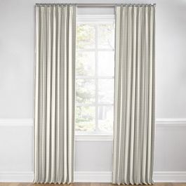 Gray Awning Stripe Euro Pleated Curtains Close Up
