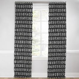 Black & White Trellis Euro Pleated Curtains Close Up