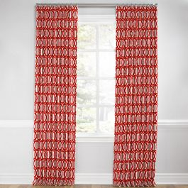 Coral Red Trellis Euro Pleated Curtains Close Up