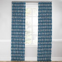 Bright Blue Trellis Euro Pleated Curtains Close Up