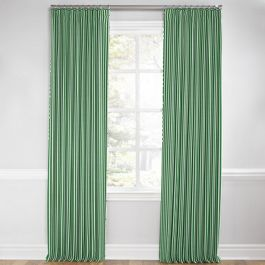 Emerald Green Thin Stripe Euro Pleated Curtains Close Up