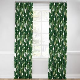 Green Banana Leaf Euro Pleated Curtains Close Up