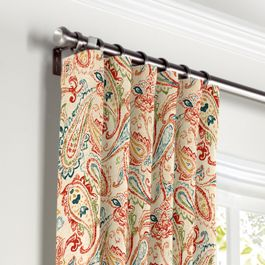 Multicolor Red Paisley Curtains with Pocket Close Up