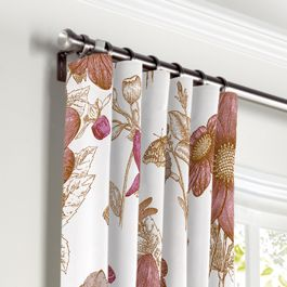 Sketched Pink Floral Curtains with Pocket Close Up