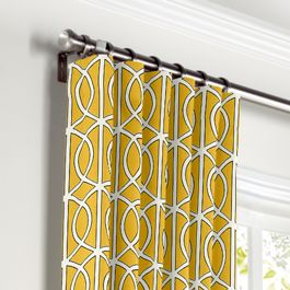 Modern Yellow Trellis Curtains with Pocket Close Up