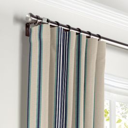 Gray, Teal & Blue Stripe Curtains with Pocket Close Up
