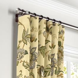Jacobean Beige Floral Curtains with Pocket Close Up
