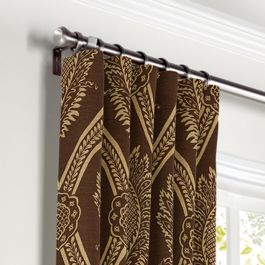 Brown Medallion Trellis Curtains with Pocket Close Up
