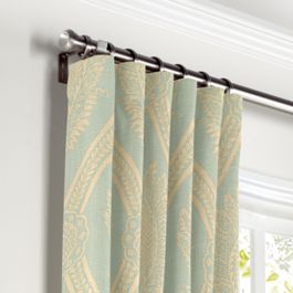 Aqua Medallion Trellis Curtains with Pocket Close Up