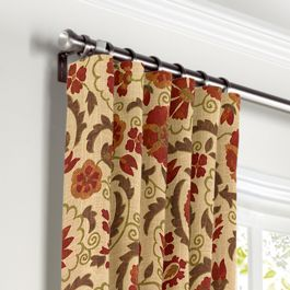 Beige & Red Suzani Curtains with Pocket Close Up