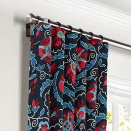 Red & Navy Blue Suzani Curtains with Pocket Close Up