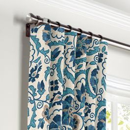 Beige & Blue Suzani Curtains with Pocket Close Up