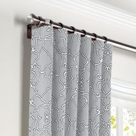 Cool Gray Trellis Scroll Curtains with Pocket Close Up