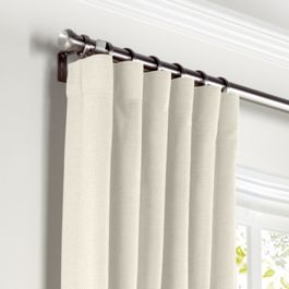 Ivory Slubby Linen Curtains with Pocket Close Up