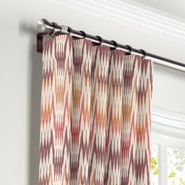 Orange & Pink Flame Stitch Curtains with Pocket Close Up