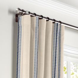 Blue Burlap-Style Stripe Curtains with Pocket Close Up