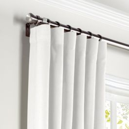 White Slubby Linen Curtains with Pocket Close Up