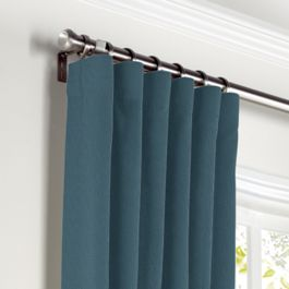 Dark Navy Slubby Linen Curtains with Pocket Close Up