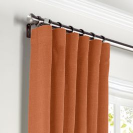 Burnt Orange Slubby Linen Curtains with Pocket Close Up