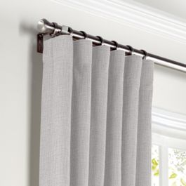 Purple Gray Slubby Linen Curtains with Pocket Close Up