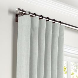 Pale Gray Slubby Linen Curtains with Pocket Close Up