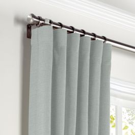 Gray Slubby Linen Curtains with Pocket Close Up