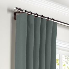 Charcoal Slubby Linen Curtains with Pocket Close Up