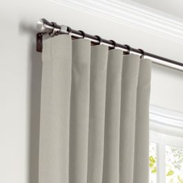 Beige Slubby Linen Curtains with Pocket Close Up