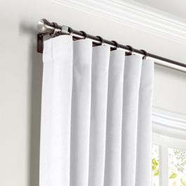 Bright White Slubby Linen Curtains with Pocket Close Up