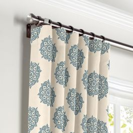 Blue Medallion Block Print Curtains with Pocket Close Up