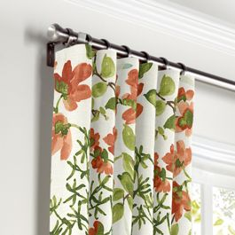 Coral Watercolor Floral Curtains with Pocket Close Up