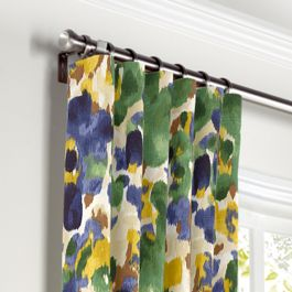 Green & Blue Watercolor Curtains with Pocket Close Up
