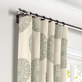 Aqua Medallion Block Print Curtains with Pocket Close Up