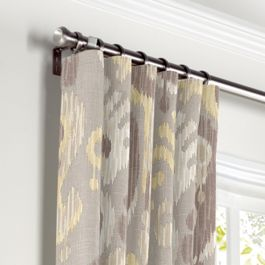 Pastel Yellow & Gray Ikat Curtains with Pocket Close Up
