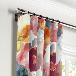 Coral Pink Watercolor Curtains with Pocket Close Up