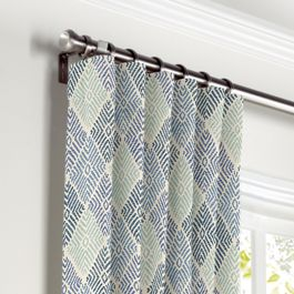 Blue Diamond Block Print Curtains with Pocket Close Up