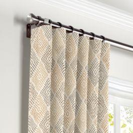 Beige Diamond Block Print Curtains with Pocket Close Up