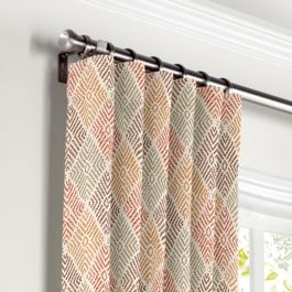 Orange Diamond Block Print Curtains with Pocket Close Up