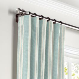 Handwoven Aqua Stripe Curtains with Pocket Close Up